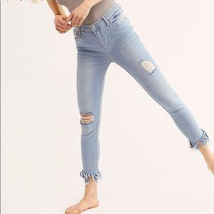 Free People Frayed Dark Wash Skinny Jeans